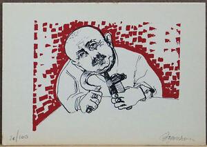 ALDO BORGONZONI litografia colori 23,5x16,5 firmata numerata 26/100 Pergolesi