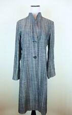 New Jil Sander Linen Cotton Coat BLACK GRAY TEXTURED LONG DUSTER GERMANY i38 M