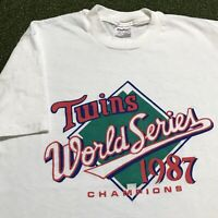 Minnesota Twins T Shirt Mens Medium Adult White Vintage 80s 1987 Champions MLB
