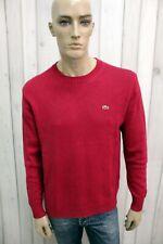 LACOSTE Uomo Taglia 5 Maglione XL Rosso Lana Wool Casual Sweater Manica Lunga