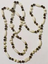 collier sautoir bijou vintage années 70 perle déco gravé et perle éléphant *3619
