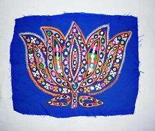 Bleu Vintage Lotus Forme Broderie Patch Handmade Rare Rabari Kutch Patchs
