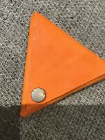 Handmade Genuine Leather Triangle Coin Purse In Orange