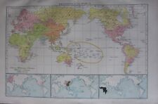 1893 LARGE ANTIQUE MAP ~ RELIGIONS OF THE WORLD CHINESE DISTRIBUTION CHRISTIAN
