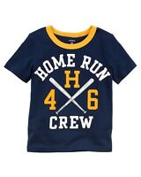 CARTER'S Boys 4T Blue Home Run Team T-Shirt NWT Baseball Short Sleeves Sports