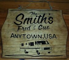 x  MOTOR HOME COACH  WOOD SIGN PERSONALIZED RV w/ Your NAME & TOWN