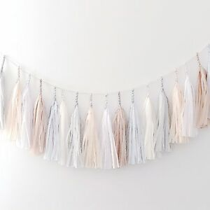 All neutral paper tassel garland - fully assembled - party decorations
