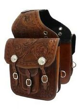 Western Brown Leather Hand Carved Saddle Bag with Silver Engraved conchos