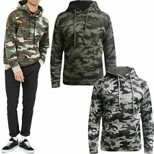 Ex-Store Mens Camo Print Fleece Hoodie Military Camouflage Hooded Pullover Top