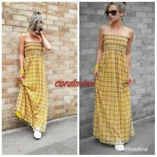 ZARA NEW YELLOW CHECK HALTER NECK LONG TULLE MAXI DRESS SIZE L