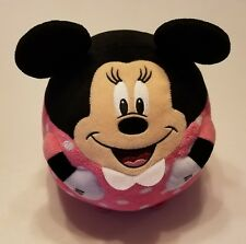 "Disney Minnie Mouse Ballz TY 9""+ Round Stuffed Animal 3D Plush Pink w/Polka Dots"