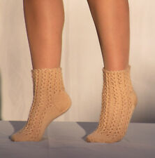WOOL Hand knitted socks soft cable knit BEIGE leg warmers