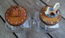 Vintage Slant Glass Canisters Wood Rocking Horse Teddy Bear Lids Hand Painted EU