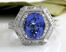 Estate 5.35 Carats NATURAL TANZANITE and DIAMOND 18K Solid White Gold Ring