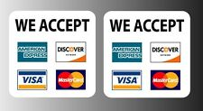 "2 Credit card sign Visa Mastercard Amex Discover Matte Sticker Decal 3.5"" x 3.5"""