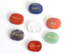 7pcs Chakra Stones Engraved Inspirational Positive Word Palm Stones with a Pouch
