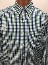 Brooks Brothers 16 34/35 Blue Green White Button-Down Long-Sleeve Cotton Shirt