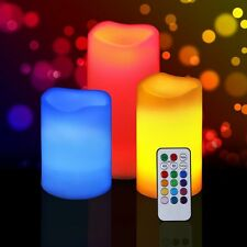 SET OF 3 REMOTE CONTROL 12LEDs COLOUR CHANGING FLAMELESS MOOD CANDLE W TIMER B/O