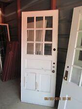 Exterior Antique Wood Door 9 Panes Glass 2 Vertical Panels One Horizontal