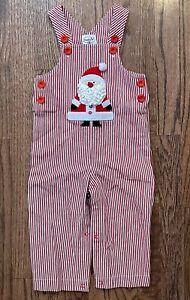 Mud Pie Santa Red & White Striped Denim Overalls Baby Boy Girl 12-18m Christmas