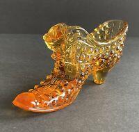 Fenton Hobnail Amber Glass Shoe with Cat Head Art Glass Slipper Vintage