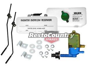 Holden Radiator Overflow + Washer Bottle +Nozzles+Pump +Fitting Kit HQ HJ HX HZ