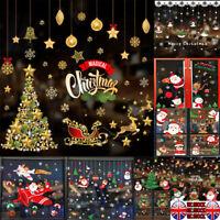 UK Xmas Christmas Santa Removable Window Stickers Art Decal Wall Home Shop Decor