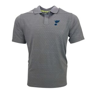 St. Louis Blues NHL Reebok Men's Grey Center Ice Speedwick Perf. Polo Shirt