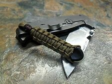 COYOTE BROWN PARACORD NO CORE KNIFE LANYARD PULL GLOWTIP & SKULL