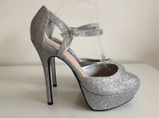 """New Look Silver Sparkly Ankle Strap 5.5"""" Heels Size 7 Platform 1 1/4"""""""