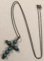 Vintage Southwestern Sterling Silver Turquoise Cross Pendant Necklace