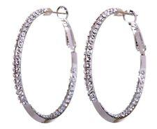 """Swarovski Elements Crystal 1 1/2"""" Baha Hoop Earrings Rhodium Authentic New 7213u"""