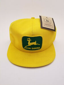 Vintage John Deere Yellow Mesh Snapback Green Patch New With Tag K-Products Hat