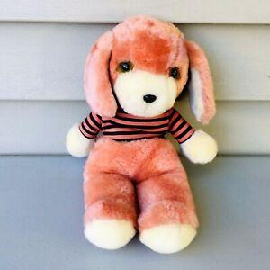 "Vintage Avon 80's Puppy Plush Dog Striped Shirt Stuffed Animal 12"""