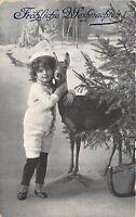 BG20385 child with deer cerf fir branch  christmas weihnachten  germany