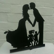 NEW Our stunning silhouette Bride & Groom WITH 2 children Wedding cake Toppers