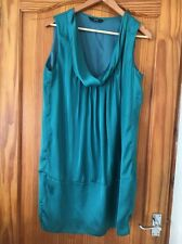 Ladies F&F  Sleeveless Cowl Neck Shift Dress Green Size 14