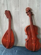 Vintage MCM ROYAL Cast Aluminum Mandolin and Violin wall Instrument decor
