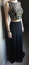 Black and Gold Floor Length Two Piece Sequined Top Prom Ball Formal Dress