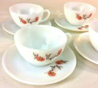 Anchor Hocking Fire King Teacup & Saucers Set of 4 Fleurette Milk Glass USA