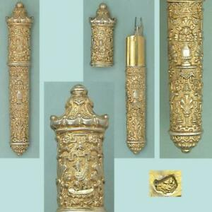 Ornate Antique Gilded Silver Chinoiserie Needle Case * French * Circa 1840