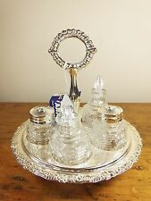 Vintage Retro Queen Anne revolving silver plate condiment cruet set