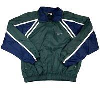 Vintage Nike Track Jacket Mens Medium Windbreaker Embroidered Big Swoosh Swishy