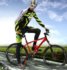 New Men Cycling Bick Bicycle Clothes Long Sleeve Jersey Pants Trousers Set Pad