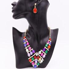 Luxurious Crystal Diamond Rhinestone Necklace Pendant Earrings Party Jewelry Set