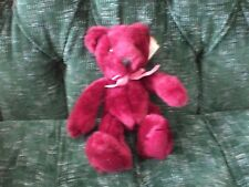 """10"""" maroon teddy bear Russ Berrie pink ribbon pre owned with tags"""