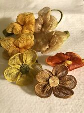 7 Vintage Woven Straw Napkin Rings Flowers Assorted Color Style