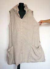 La Bass 100% Linen Natural Sleeveless Lagenlook Summer Jacket; Size:2