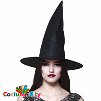 Womens Ladies Classic Black Witch Hat Halloween Fancy Dress Costume Accessory