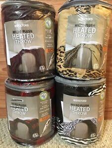 Biddeford Heated Plush Blanket Throw Plum Red/Black Check Cheetah or Zebra Print